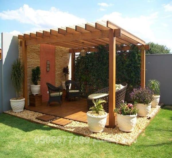 مظلات حدائق خشب طبيعي